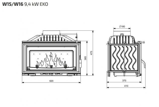 Kawmet W15 10 кВт с шибером