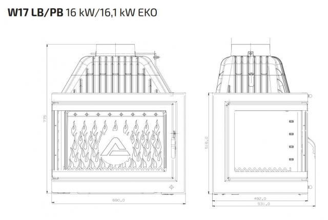 Kawmet W17L PORTOS с дополнительным правым стеклом